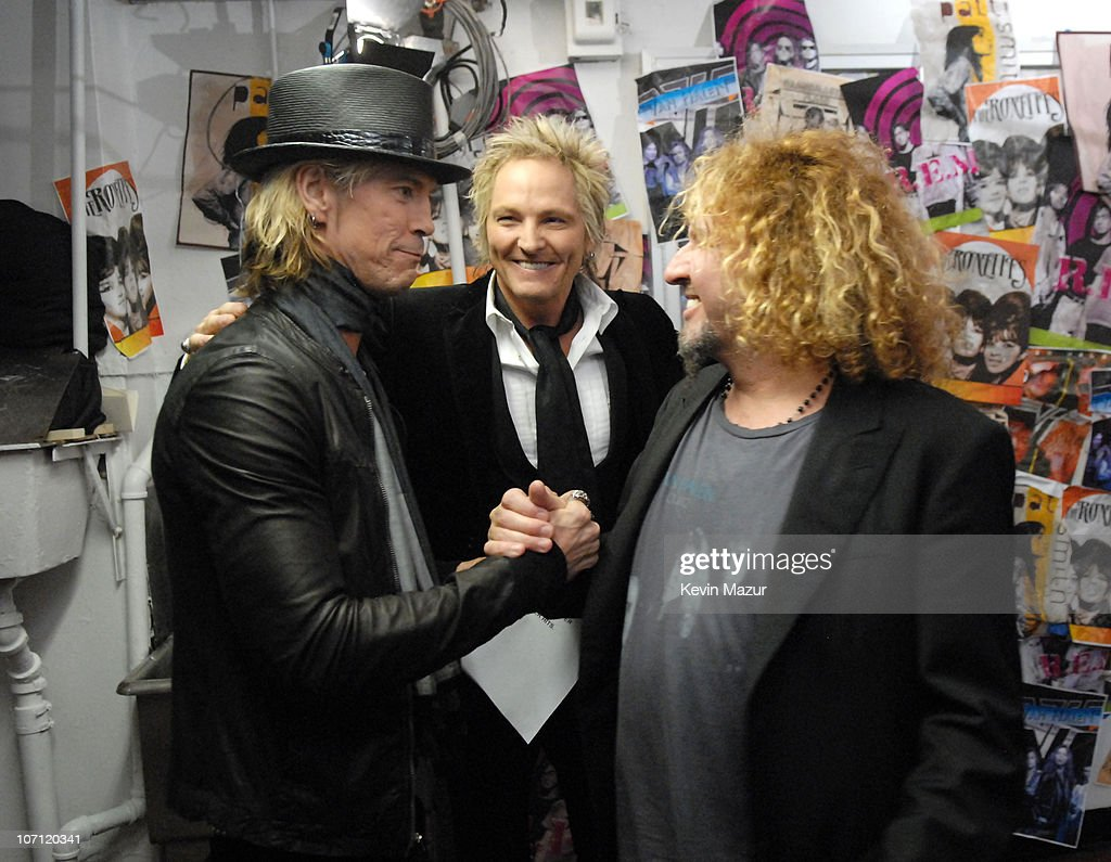 Duff McKagan and Matt Sorum of Velvet Revolver, presenters, with Sammy Hagar of Van Halen, inductee *EXCLUSIVE*