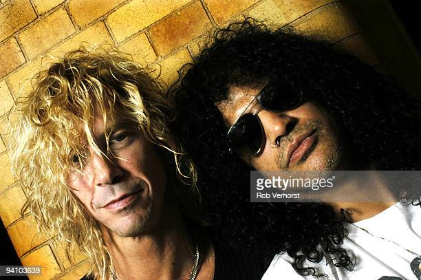 Duff McKagan and Slash from Velvet Revolver posed in the American Hotel Amsterdam Netherlands on March 23 2004