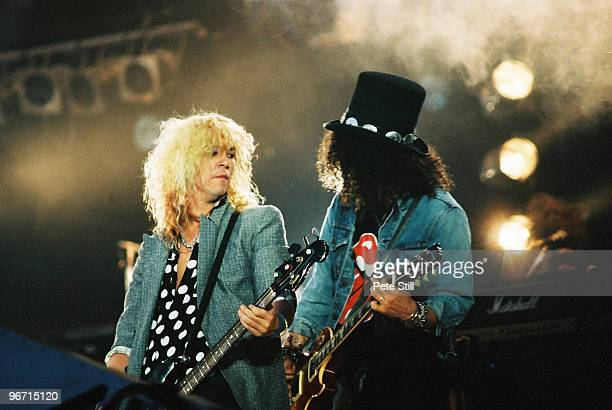 Duff McKagan and Slash of Guns n Roses perform on stage at The Freddie Mercury Tribute Concert at Wembley Stadium on April 20th 1992 in London United...