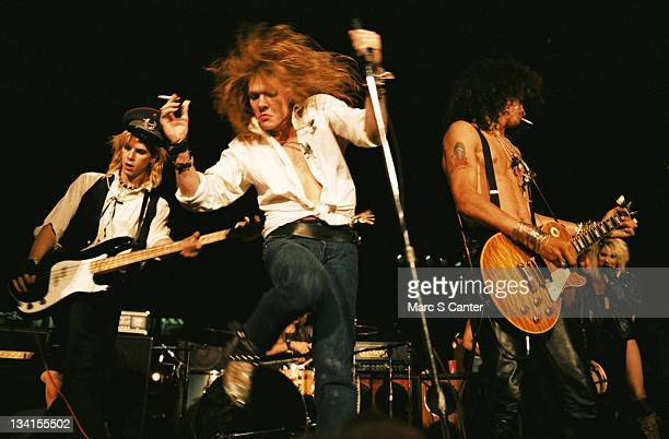 Duff McKagan, Axl Rose and Slash of the rock group 'Guns n' Roses' perform at the LA Street Scene on September 28, 1985 in Los Angeles, California....