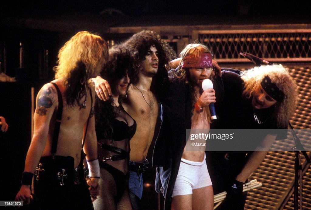 Duff McKagan, backup singer, Slash, Axl Rose and Matt Sorum of Guns N' Roses in 1993