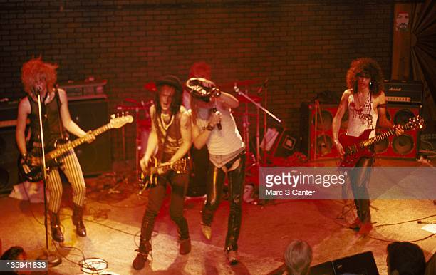 Duff McKagan Izzy Stradlin Axl Rose Steven Adler and Slash of the rock band 'Guns n' Roses' perform onstage at the Troubadour with the Appettite for...