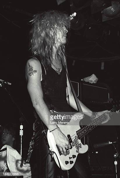 Duff McKagan of Guns N Roses performs at L'Amour on October 29 1987 in the Brooklyn borough of New York City