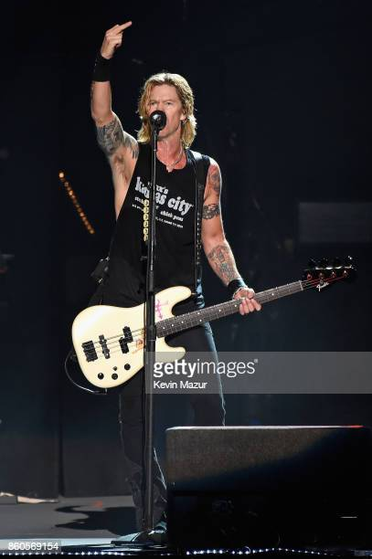 Duff McKagan of Guns N' Roses performs onstage during the 'Not In This Lifetime' Tour at Madison Square Garden on October 11 2017 in New York City