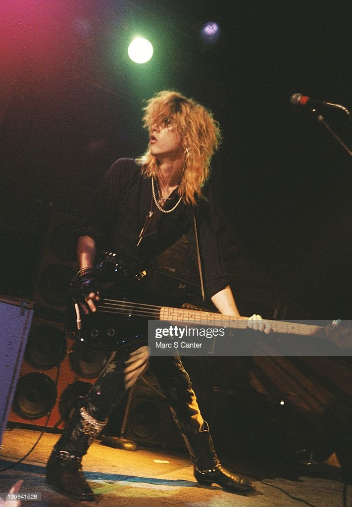 Duff McKagan of the rock band 'Guns n' Roses' performs onstage at the Troubadour where they played 'My Michelle' for the first time on January 4, 1986 in Los Angeles, California.