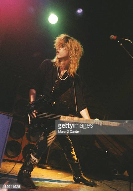 Duff McKagan of the rock band 'Guns n' Roses' performs onstage at the Troubadour where they played 'My Michelle' for the first time on January 4 1986...