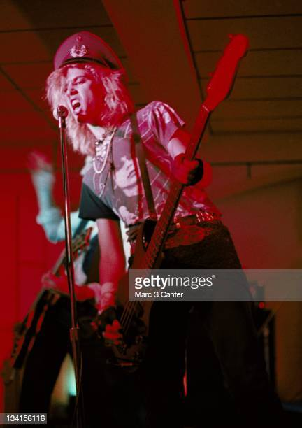 Duff McKagan of the rock group 'Guns n' Roses' performs onstage at the Stardust Ballroom on August 30 1985 in Los Angeles California
