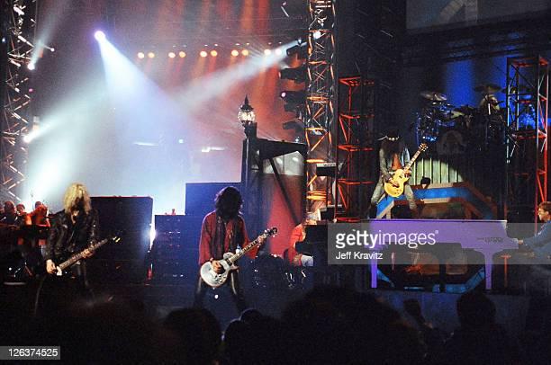 Duff McKagan Slash and Axl Rose Guns N' Roses perform with Elton John