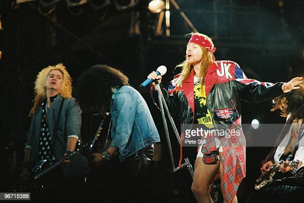 Duff McKagan Slash Axl Rose and Gilby Clarke of Guns n Roses perform on stage at The Freddie Mercury Tribute Concert at Wembley Stadium on April 20th...