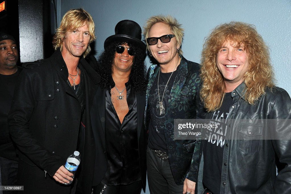 Duff McKagan, Slash, Matt Sorum and Steven Adler of Guns N' Roses attend the 27th Annual Rock And Roll Hall Of Fame Induction Ceremony at Public Hall on April 14, 2012 in Cleveland, Ohio.