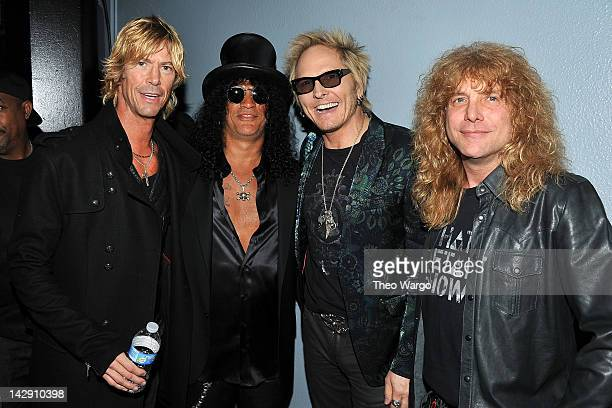 Duff McKagan, Slash, Matt Sorum and Steven Adler of Guns N' Roses attend the 27th Annual Rock And Roll Hall Of Fame Induction Ceremony at Public Hall...