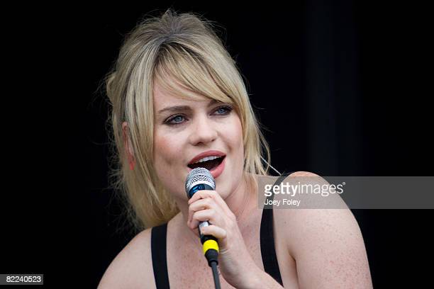 Duffy performs during the 2008 Virgin Mobile Festival at Pimlico Race Course on August 9 2008 in Baltimore Maryland