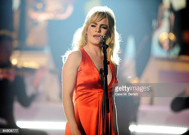 Duffy performs on stage during The Brit Awards 2009 at Earls Court One on February 18 2009 in London England