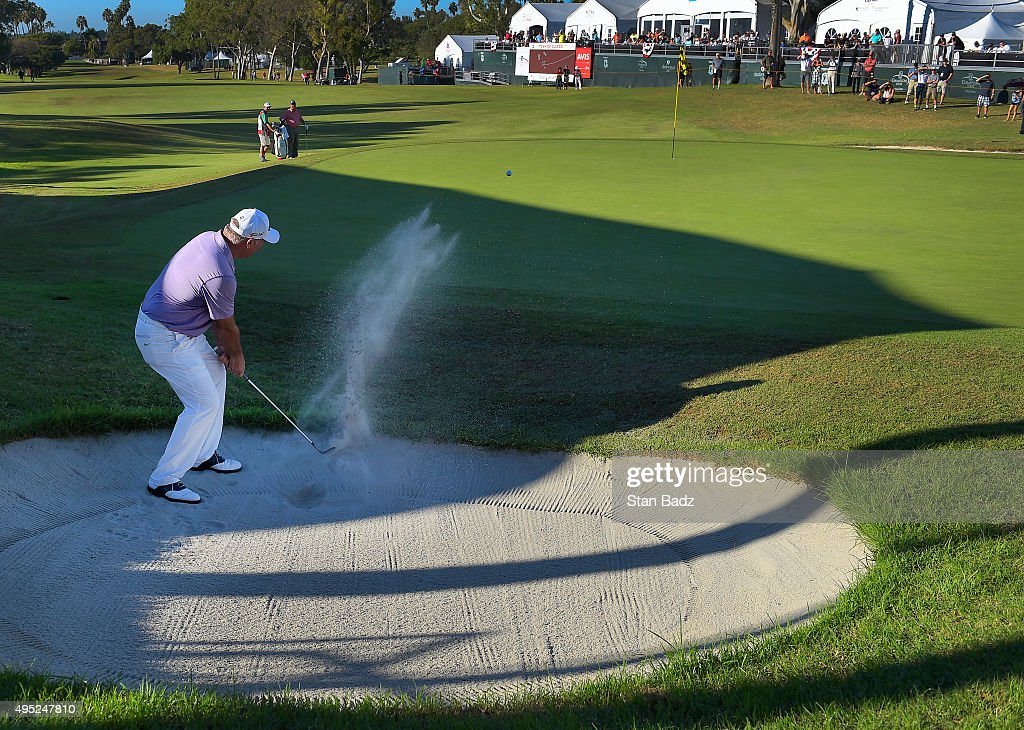 Duffy Waldorf plays a bunker shot on the 18th hole during the second round of the Champions Tour Toshiba Classic at Newport Beach Country Club on October 31, 2015 in Newport Beach, California.