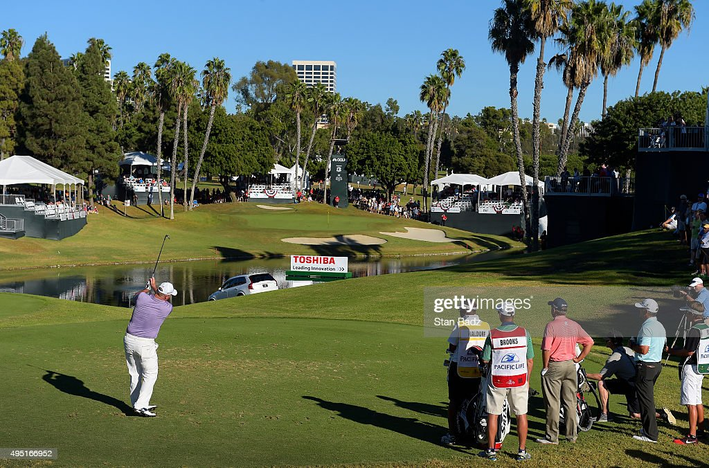 Duffy Waldorf plays a shot on the 17th hole during the second round of the Champions Tour Toshiba Classic at Newport Beach Country Club on October 31, 2015 in Newport Beach, California.