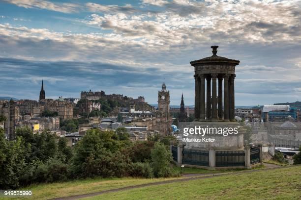 Dugald Stewart Monument, view from Calton Hill across historic centre and Edinburgh Castle, Edinburgh, Scotland, United Kingdom