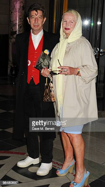 Duggie Fields and Jibby Beane attend the private view of exhibition 'Grace Kelly Style Icon' at the Victoria Albert Museum on April 15 2010 in London...
