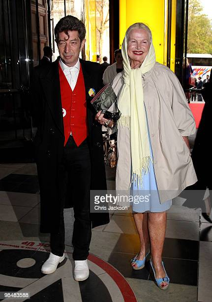 Duggie Fields and Jibby Beane attends the private view of exhibition 'Grace Kelly Style Icon' at the Victoria Albert Museum on April 15 2010 in...