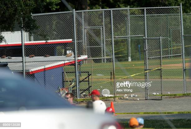 A dugout at Eugene Simpson Stadium Park site of a morning shooting is shown June 14 2017 in Alexandria Virginia US House Majority Whip Steve Scalise...