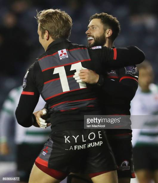 Duhan Van der Marwe of Edinburgh is congratulated by Sean Kennedy after he scores the opening try during the European Rugby Challenge Cup match...