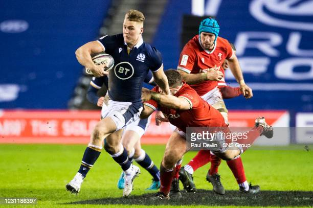 Duhan van der Merwe in action for Scotland during a Guinness Six Nations tie between Scotland and Wales at BT Murrayfield, on February 13 in...