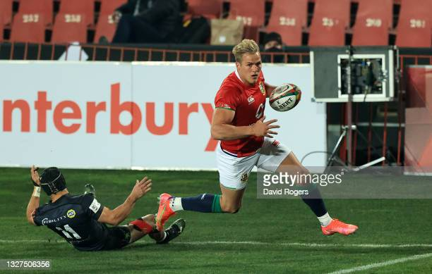 Duhan van der Merwe of The British and Irish Lions goes over to score their side's second try during the Cell C Sharks v British & Irish Lions tour...