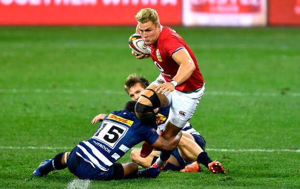 CAPE TOWN, SOUTH AFRICA - JULY 17: Duhan van der Merwe of The British & Irish Lions and Dan du Plessis and Sergeal Petersen of the Stormers during the Tour match between DHL Stormers and British and Irish Lions at Cape Town Stadium on July 17, 2021 in Cape Town, South Africa. (Photo by Ashley Vlotman/Gallo Images/Getty Images)