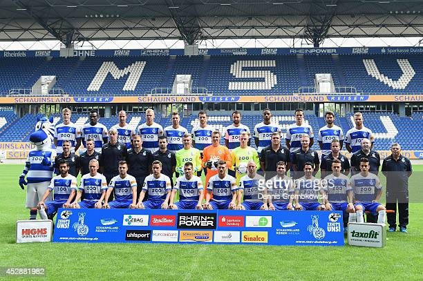 Duisburg team pose during the official MSV Duisburg team presentation at SchauinslandReisenArena on July 29 2014 in Duisburg Germany