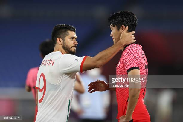 Dujae Won of Team South Korea is consoled by Henry Martin of Team Mexico following the Men's Quarter Final match between Republic Of Korea and Mexico...