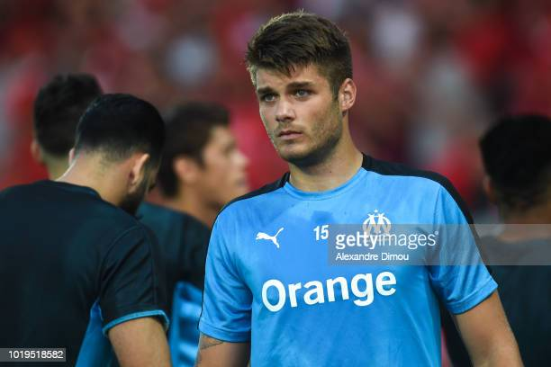Duje Caleta Car of Marseille during the French Ligue 1 match between Nimes and Marseille at Stade des Costieres on August 19 2018 in Nimes France