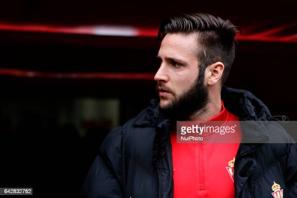 Duje Cop forward of Sporting de Gijon during the La Liga Santander match between Sporting de Gijon and Atletico de Madrid at El Molinon Stadium on...