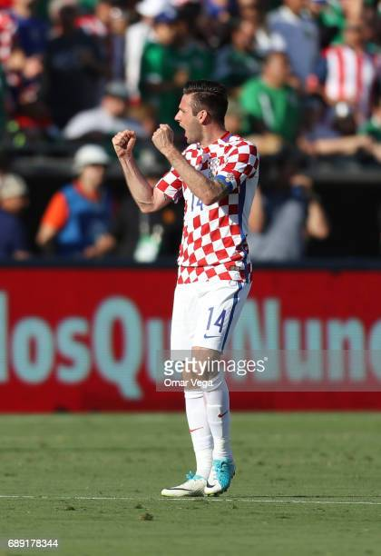 Duje Cop of Croatia celebrates after scoring the opening goal during an International Friendly match between Mexico and Croatia at Los Angeles...