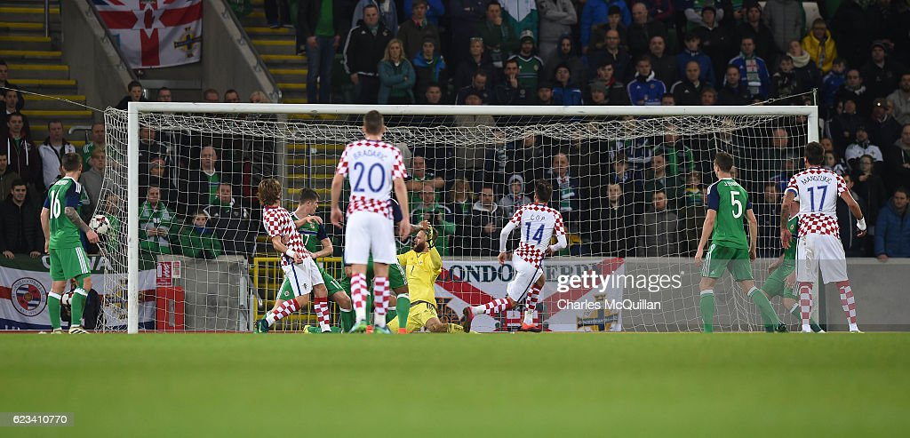 Duje Cop of Croatia scores during the international friendly fixture between Northern Ireland and Croatia at Windsor Park on November 15, 2016 in Belfast, Northern Ireland.