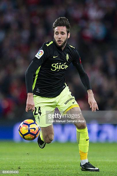 Duje Cop of Real Sporting de Gijon controls the ball during the La Liga match between Athletic Club Bilbao and Real Sporting de Gijon at San Mames...