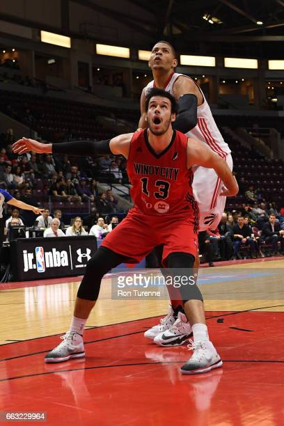 Duje Dukan of the Windy City Bulls boxes out Edy Tavares of the Raptors 905 on March 30 2017 in Mississauga Ontario Canada NOTE TO USER User...