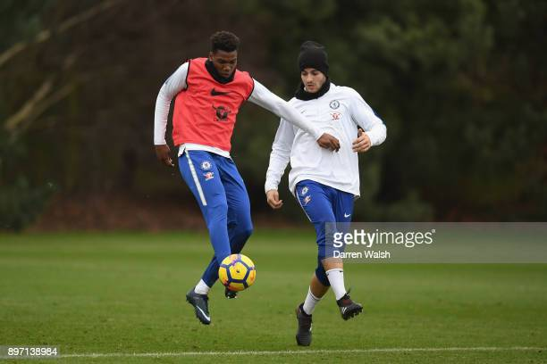 Dujon Sterling and Alvaro Morata of Chelsea during a training session at Chelsea Training Ground on December 22 2017 in Cobham England