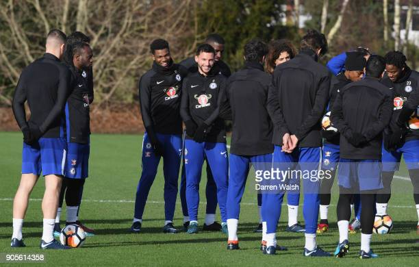 Dujon Sterling and Danny Drinkwater of Chelsea during a training session at Chelsea Training Ground on January 16 2018 in Cobham England