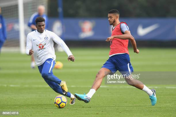 Dujon Sterling and Jake ClarkeSalter of Chelsea during a training session at Chelsea Training Ground on November 3 2017 in Cobham England