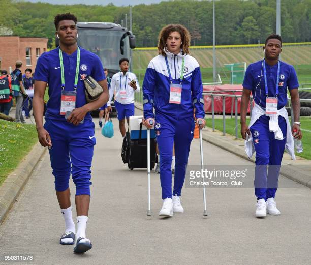 Dujon Sterling Ethan Ampadu and Daishawn Redan of Chelsea arrive for the Chelsea FC v FC Barcelona UEFA Youth League Final at Colovray Sports Centre...