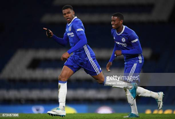 Dujon Sterling of Chelschallenges celebrates scoring his sides fourth goal during the FA Youth Cup Final second leg between Chelsea and Mancherster...