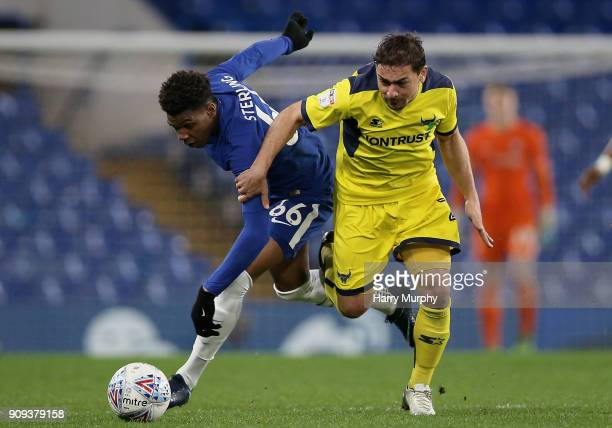 Dujon Sterling of Chelsea and Ricardinho of Oxford United battle for possession during the Checkatrade Trophy match between Chelsea U21 and Oxford...