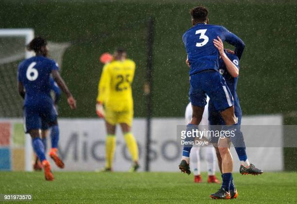 Dujon Sterling of Chelsea celebrates after his team scored their 4th goal during the UEFA Youth League Quarterfinal between Real Madrid and Chelsea...