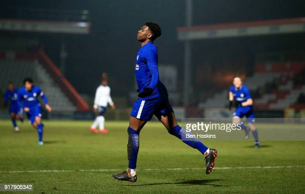 Dujon Sterling of Chelsea celebrates after scoring the opening goal of the game during the FA Youth Cup match between Tottenham Hotspur and Chelsea...