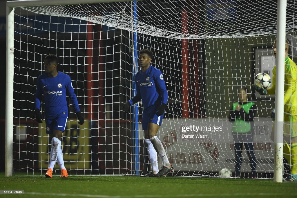 Dujon Sterling of Chelsea celebrates his goal and Chelsea's 4th during the UEFA Youth League Round of 16 match between Chelsea FC and Feyenoord at EBB Stadium on February 21, 2018 in Aldershot, United Kingdom.
