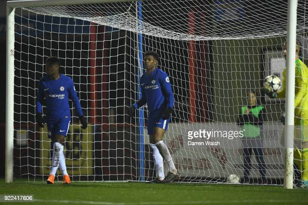Dujon Sterling of Chelsea celebrates his goal and Chelsea's 4th during the UEFA Youth League Round of 16 match between Chelsea FC and Feyenoord at...