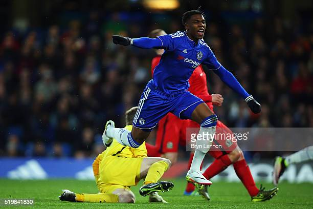 Dujon Sterling of Chelsea celebrates scoring during the FA Youth Cup SemiFinal Second Leg match between Chelsea and Blackburn Rovers at Stamford...