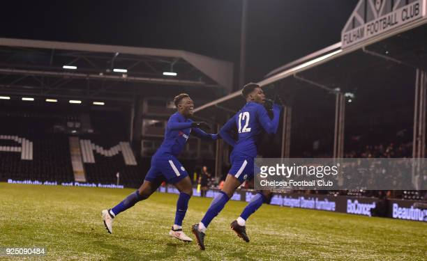 Dujon Sterling of Chelsea celebrates scoring during the FA Youth Cup quarter final match between Fulham and Chelsea at Craven Cottage Fulham on...