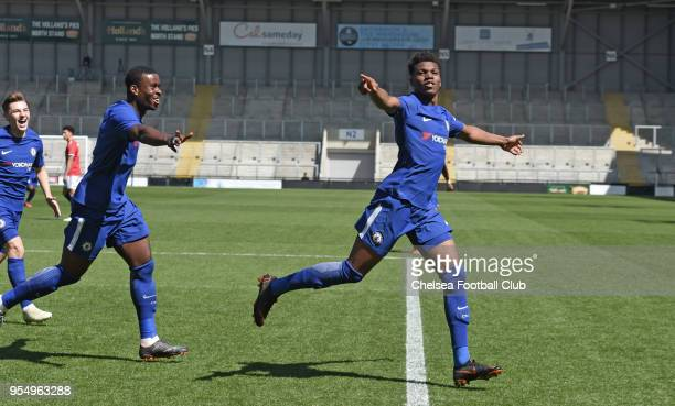 Dujon Sterling of Chelsea celebrates the first goal during the Manchester United v Chelsea U18 Premier League National Final at Leigh Sports Village...