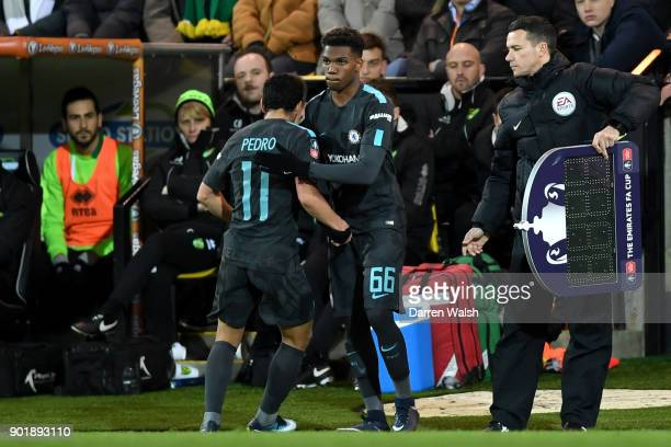 Dujon Sterling of Chelsea comes on as a subsitute for Pedro of Chelsea during The Emirates FA Cup Third Round match between Norwich City and Chelsea...