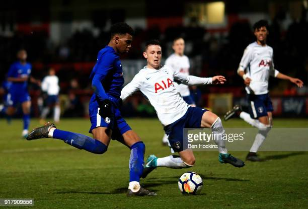 Dujon Sterling of Chelsea crosses ahead of Jamie Reynolds of Tottenham during the FA Youth Cup match between Tottenham Hotspur and Chelsea at The...